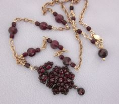 Upcycled Victorian Bohemian Garnet Pendant Necklace - one of a kind - vintage assemblage jewelry designs by JryenDesigns.etsy.com