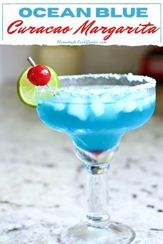 This ocean blue curacao margarita is a taste of the islands. Sweet and fruity this cocktail recipe is the perfect balance with a salt rimmed glass.#bluecocktails #recipes #curacao #margarita #ocean #drinks Margarita Recipe Cointreau, Cointreau Cocktails, Easy Margarita Recipe, Blue Margarita, Margarita Recipes, Cocktail Recipes, Blue Curacao Drinks, Blue Drinks, Beach Cocktails