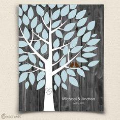 Rustic Darkwood Wedding Tree Guest Book Alternative - Wedding Wish Tree - By Peachwik