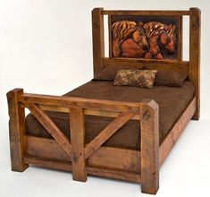 Barnwood Bed with Metal Horse Art - Item #BR04043 - All Reclaimed Wood & Copper - Available in Full, Queen & King - Headboard Only Option - 20 Standard & 1000 Custom Finishes