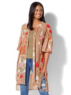 Shop Mixed-Print Kimono . Find your perfect size online at the best price at New York & Company.