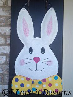 Easter Bunny Burlap Door Hanger by ILoveItDesigns on Etsy, $30.00