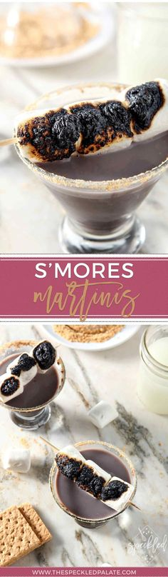 Sip a favorite campfire treat at happy hour! Smores Martinis are a fun twist on a favorite summertime dessert! | Creative Cocktail | Smores Recipe | Smores Drink | Easy Cocktail | Marshmallow Vodka | Chocolate Martini | Marshmallow Martini |