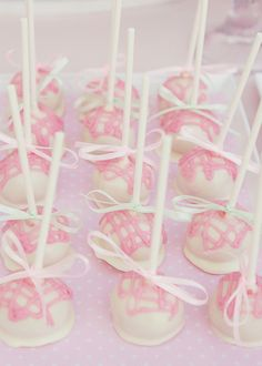 Cake pops, perfect for a little girl's birthday party!!! Don't let the looks scare you off. Soo easy using ribbone can make such difference.  akt
