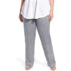 Plus Size Women's Persona By Marina Rinaldi Roger Linen Drawstring... ($190) ❤ liked on Polyvore featuring plus size women's fashion, plus size clothing, plus size pants, dark navy, plus size, women's plus size pants, plus size drawstring pants, womens plus pants, wet look pants and linen pants