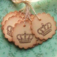 Crown Hang Tags, Vintage Inspired - Scalloped Circle - Manila Cream Chocolate Brown 12 via Etsy