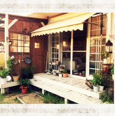 オーニング/ウッドデッキ/父作の窓枠&ドア/Garden*/部屋全体のインテリア実例 - 2014-09-09 12:29:20 | RoomClip(ルームクリップ)