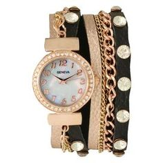 """The perfect accent for work apparel and casual weekend ensembles, this statement-making watch features a bangle-inspired design with 2 leather straps and rhinestone accents.   Product: WatchConstruction Material: Rhinestones, leather, alloy, stainless steel and glassColor: Rose, gold and blackFeatures:  Snap claspTwo leather strapsRhinestone accents Accommodates: Battery - includedDimensions: 14.5"""" W x 0.25"""" D  (flat)"""