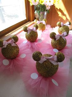 Set of 3 Gold Glittery Minnie Mouse Table Centerpieces with Bow Tutu Skirt