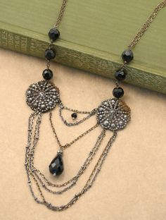 Vintage Steel Cut Button Drape Necklace by sayuridesigns on Etsy, $95.00