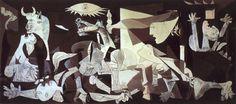 1) Dit een een afbeelding van Picasso over het bombardement van Guernica. Vooraan het schilderij is een man met een kapot zwaard afgebeeld. Een symbool voor een dode soldaat. Het paard drukt de angst uit en is het symbool voor de onschuldige slachtoffers in de oorlog. De moeder met het dode kind symboliseert het verdriet om de gesneuvelden. De lamp op het schilderij staat symbool voor de explosie en het bombardement in Guernica. 2) Het schilderij is in lijnen en vlakken in zwart, wit en…