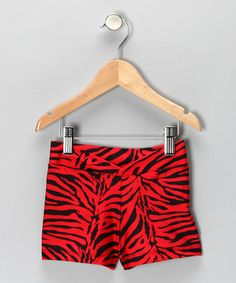 Take a look at this Red & Black Zebra Shorts - Girls by Eurotard on #zulily today!