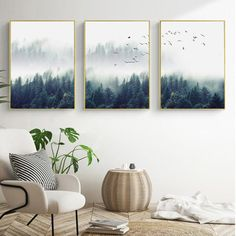 Inspirational Mystical Forest Landscape Posters Nordic Nature Canvas Wall Art Prints Paintings For Offices, Salons and Modern Home Decor - 3 Pcs - Decoration Fireplace Garden art ideas Home accessories Forest Landscape, Landscape Walls, Landscape Posters, Mountain Landscape, Mystical Forest, Garden Wall Art, Canvas Painting Landscape, Abstract Canvas, Building A Pergola