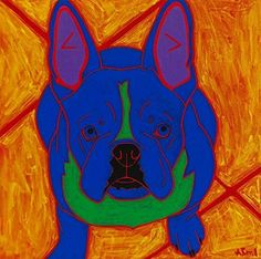 "Frenchie Side-Kick Dog Pop Art Print - Colorful Dogs - French Bulldog Art by Angela Bond. ""Sturdy Side-Kick"", This is a limited edition matted print of one of my pop art paintings. Angela Bond @ 2009 mat size - 11"" X 14""(white mat) print size - 7"" X 7"" high quality limited edition matted print using Epson heavy weight matte paper signed, titled and numbered www.angelabondart.com."