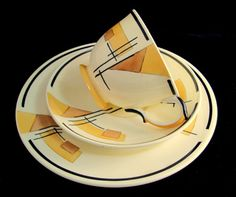 Art Deco Geometric Trio, Crown Staffordshire Buttery Yellow Black & Cream Cup, Saucer, Teaplate Trio Set 1930s, via Etsy.