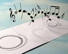Music Card Spiral Pop Up - Musical Notes 3D Card - Popup Card