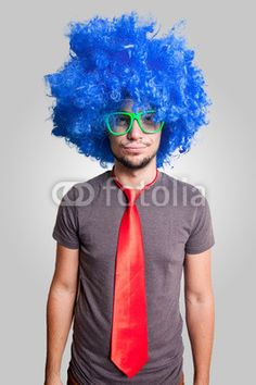 funny guy with blue wig green eyeglasses and red tie - Acquista questa foto stock ed esplora foto simili in Adobe Stock Blue Wig, Gray Background, Man Humor, Eyeglasses, Photo Editing, Wigs, Royalty Free Stock Photos, Guy, Green