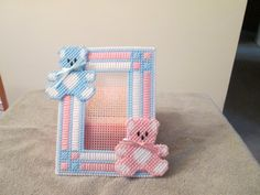 Photo Frame for Baby Girl or Boy with Teddy Bears in plastic canvas by CraftsforSalebyJune on Etsy