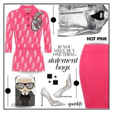 """Hot pink and silver"" by outfitsloveyou ❤ liked on Polyvore featuring Miu Miu, WearAll, Jimmy Choo, Karl Lagerfeld, Yves Saint Laurent and Vita Fede"