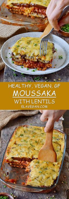 Vegan moussaka with lentils and eggplant! This popular Greek dish can be easily made without meat and still tastes amazing. This healthy casserole is a wonderful comfort meal which is flavorful, satisfying, and very enjoyable. The recipe is plant-based, gluten-free, and fairly easy to make! #vegan #glutenfree #moussaka #eggplant #casserole | elavegan.com