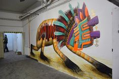 Unique indoor mural by street artist Curiot #curiot #streetart #art #mural #urbanart
