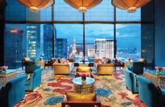 The 22nd floor of the Mandarin Oriental in Las Vegas.