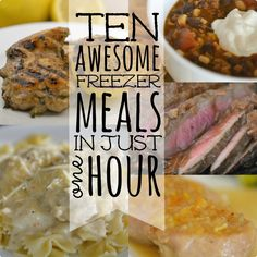 10 freezer meals in one hour - love freezer cooking! Slow Cooker Freezer Meals, Make Ahead Freezer Meals, Crock Pot Freezer, Freezer Cooking, Quick Meals, Slow Cooker Recipes, Crockpot Recipes, Cooking Recipes, Freezer Recipes