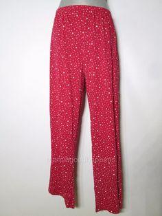 New Womens Charter Club Pajama Pants Red Stars Cotton Knit Bottoms XL #CharterClub #LoungePantsSleepShorts #Everyday