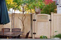 pvc vinyl wood grain accent gate shown in eastern white cedar grain from illusions fence Vinyl Gates, Vinyl Fence Panels, Privacy Fence Panels, Vinyl Railing, Wood Vinyl, Pvc Vinyl, Diy Fence, Fence Ideas, Patio Ideas