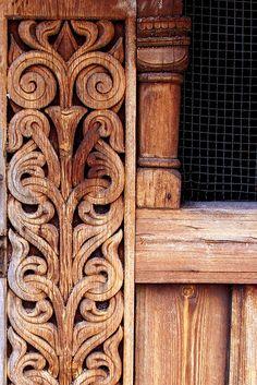 Beautiful wood carvings in Heddal stavkirke, Norway