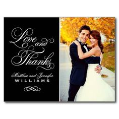 "Love and Thanks | Black Wedding Thank You Postcards - Simply elegant wedding thank you post card template features ""Love and Thanks"" in a beautiful script font with custom monogram and a portrait photo of the bride and groom on the front side, and smaller square photo with custom text that can be personalized on the back side. Classic black and white colors. #wedding #thank #you #love #thanks #bride #groom #monogram #photo #photos #script..."