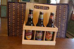 Beer six pack carrier wood