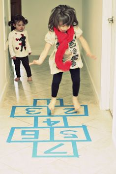 Rainy Day Activity for Kid's: Indoor Hop Scotch {From Together Counts Ambassador Estela Schnelle,Weekly Bite}