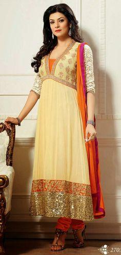 USD 98.88 Sushmita Sen Cream Bollywood Georgette Resham Work Anarkali Style Suit28116