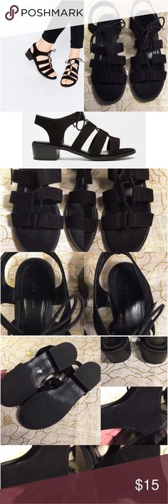 ASOS NEW LOOK TIE UP FLAT SANDAL Excellent used condition. Only a few minor scratching on the faux suede on the inner-outer part of the sandal. Only can see it when looking extremely closely to it. Other than that they are perfect. The heel height is 1 /1/2in. ASOS Shoes Sandals