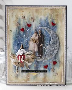 """Emma Williams: """"Love You To The Moon and Back"""" Mixed Media Canvas"""