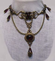 Antique Style Gold Garnet Red Glass Choker Necklace Victorian Gothic Renaissance | eBay