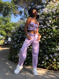 Purple Outfits, Spring Outfits, Girl Outfits, Fashion Outfits, Womens Fashion, 2000s Fashion, Look Fashion, Mode Pastel, Looks Black