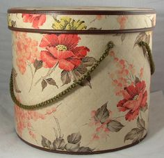 Vintage HAT BOX Floral Fabric Covered Hatbox LARGE - Image 39659