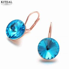 Cheap earrings for women, Buy Quality earrings for directly from China earrings for women blue Suppliers: Gorgeous  Accessories para mulher earrings for women  blue zircon rose gold earrings for women orecchini Personalized