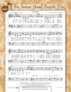 """I can Play it"" easier piano music for ""If the Savior Stood Beside Me"" Lds Songs, Lds Primary Songs, Lds Music, Primary Singing Time, Primary Music, Church Songs, Church Music, Piano Songs, Piano Music"