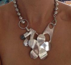 Silver flower Statement Necklace by dEvaswimwear on Etsy