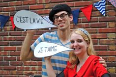 French garden party, DIY flags and word bubbles