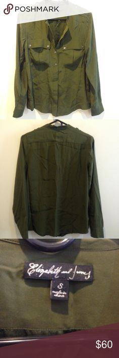 Elizabeth and James Olive Silk Button Down Top Elizabeth and James olive green blouse with buttons down the front and buttons on either sleeves ends. Not lined and is in great condition. 100% silk! Elizabeth and James Tops Button Down Shirts