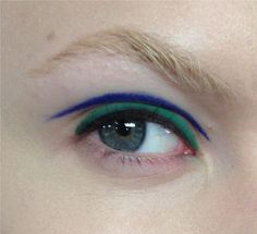 green and blue liner by Alexander Herchovitch makeup @thecoveteur