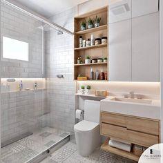 Banheiro branco e amadeirado com destaque para o revestimento no piso que é o Lisboa SGR da . O que acharam? Bathroom Layout, Modern Bathroom Design, Bathroom Interior Design, Bathroom Renos, White Bathroom, Small Bathroom, Bad Inspiration, Bathroom Inspiration, Condo Design