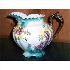 """Lefton Heirloom Elegance 6 ¾"""" water pitcher 5395 teal yellow vintage Near Mint Listing in the Lefton & ESD,China & Porcelain,Porcelain, Pottery & Glass Category on eBid United States"""