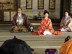 "Aoi Miyazaki 宮崎あおい NHK 2008 Taiga Drama Atsuhime ""篤姫"": 島津斉彬(高橋英樹)と篤姫(宮崎あおい)と老女・幾島(松坂慶子)"