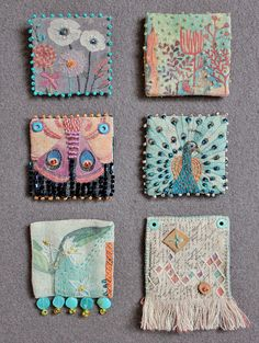 Geninne Z. Wearable Art Squares 2 x 2 inch squares original paintings with embroidery added details Art Textile, Textile Jewelry, Fabric Jewelry, Fabric Beads, Bead Jewelry, Statement Jewelry, Jewelry Sets, Diy Jewelry, Jewelry Accessories