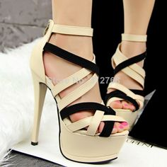14cm ultra high heels shoes 2014 European style women's gladiator color block thin heel pumps peep toe sexy lady's party shoes US $31 free shipping